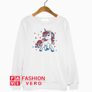 Unicorn merica 4th of jule america flag Sweatshirt